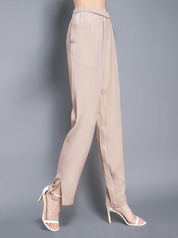 Women Polished Elastic Waist Silk Pants Hem Folded With Slit、Real Silk Life