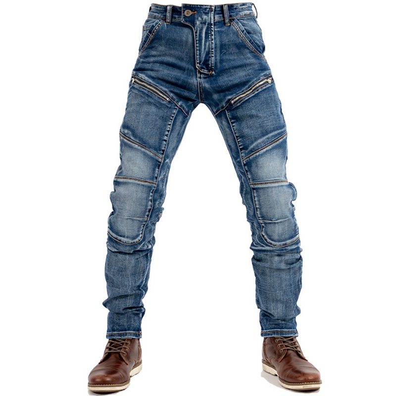 Men's retro motorcycle stitching denim trousers / [viawink] /