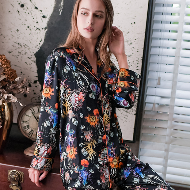 22 Momme Comfy Printed Silk Couple Pajamas Sets、Real Silk Life
