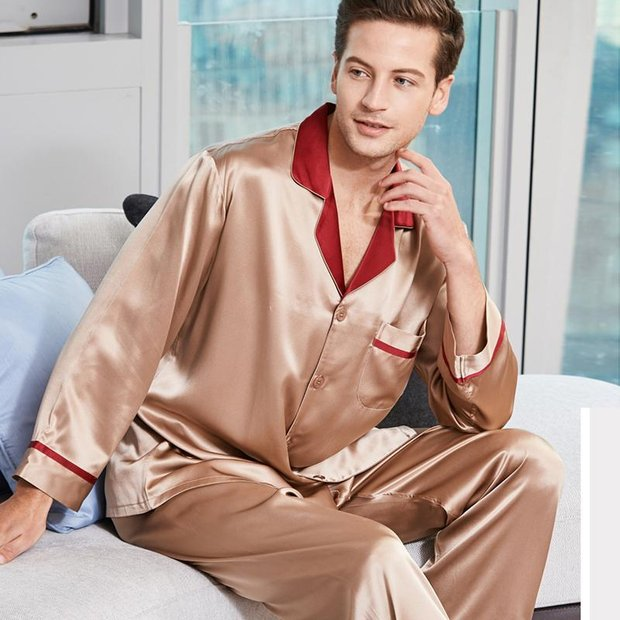 Monogrammed 22 Momme High Quality Contrast Color Silk Pajamas For Men、Real Silk Life