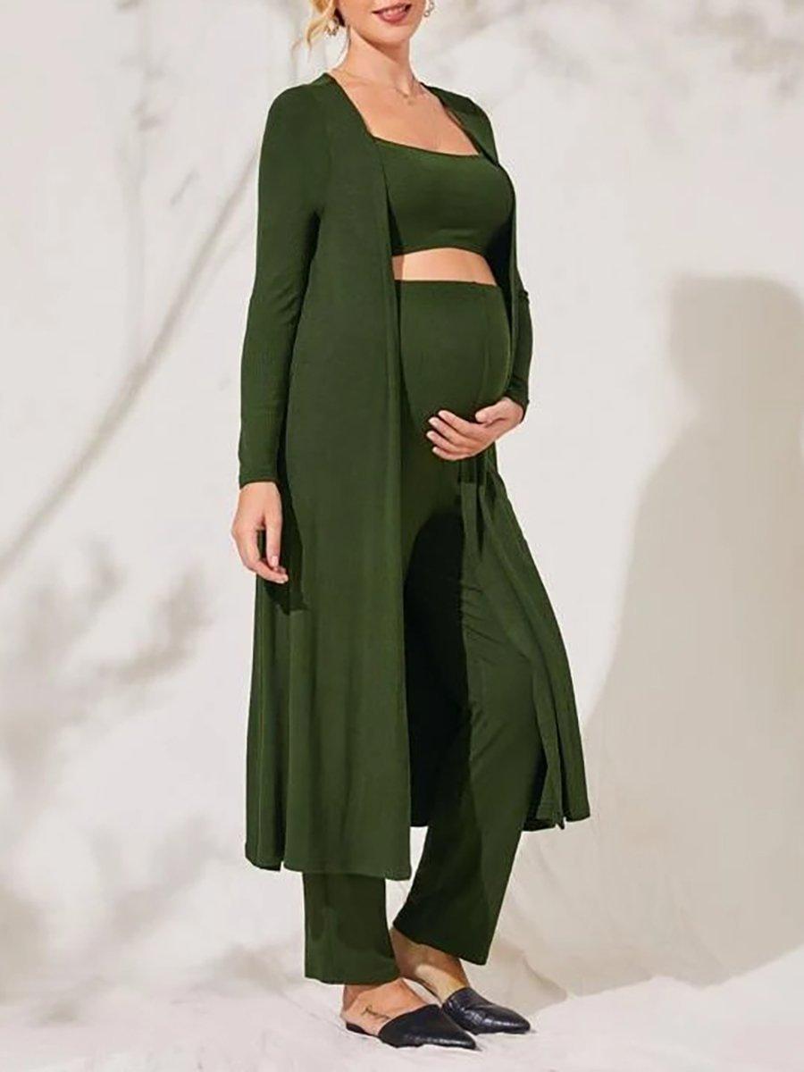 Maternity Clothes Solid Color Coat Pants Suit