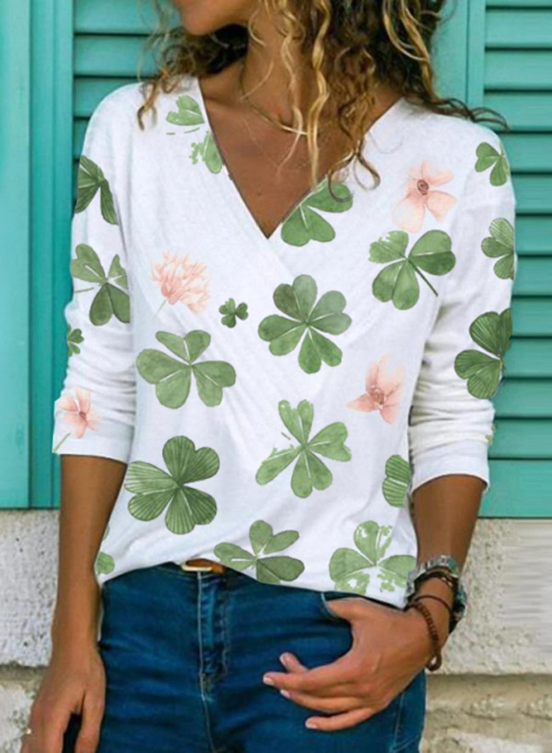 White Women's T-shirts Fruits & Plants V Neck Long Sleeve Vintage Daily T-shirts LC2517632-1
