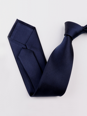 Classic Solid Navy Blue Silk Tie、Real Silk Life