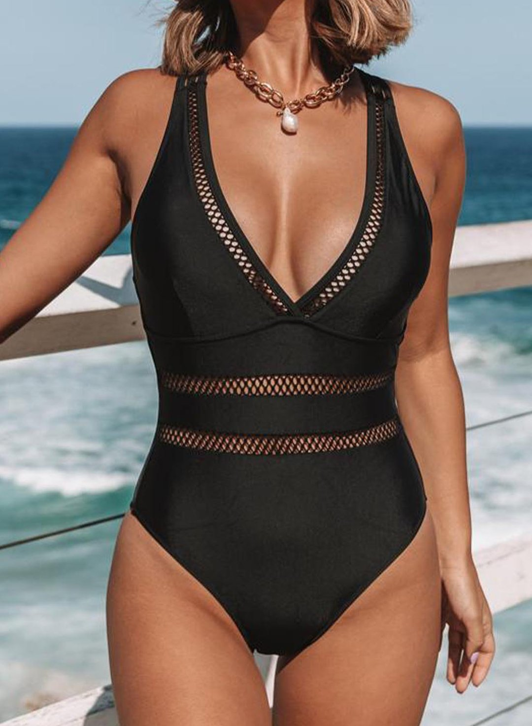Black Women's Swimsuits Solid Mesh Padded Sleeveless Unadjustable Wire-free V Neck One-piece Swimsuit LC441044-2