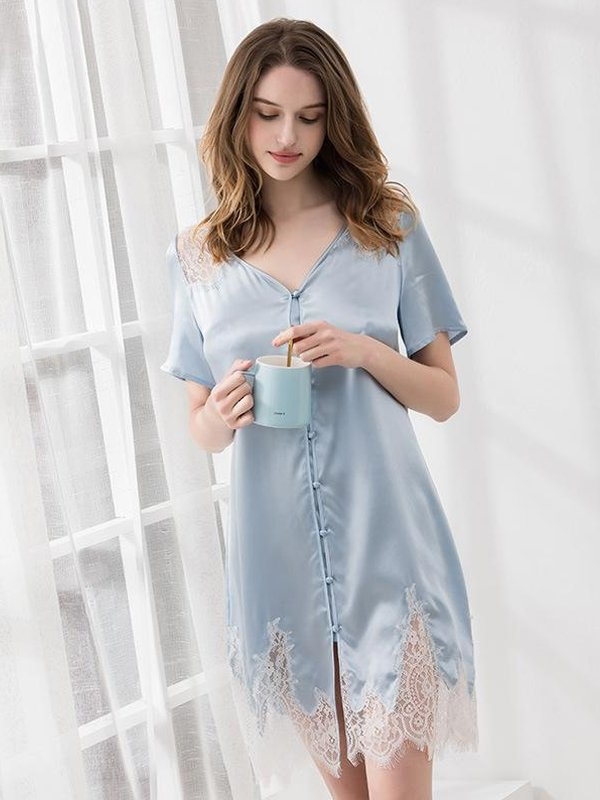 19 Momme Light Blue Lace Silk Nightgown、Real Silk Life