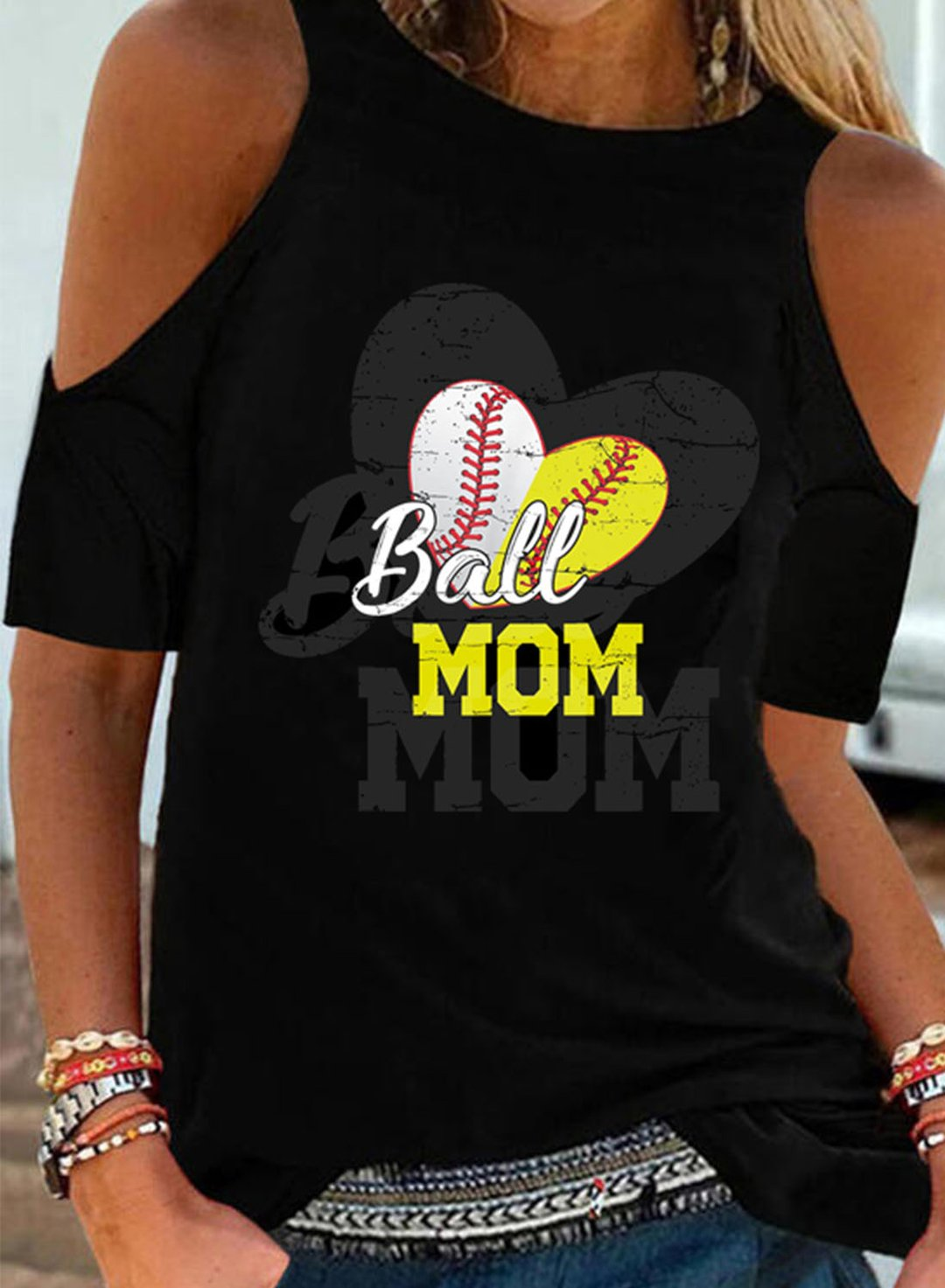 Black Women's T-shirts Letter Baseball Heart Print Cut Shoulder T-shirt LC2526806-2