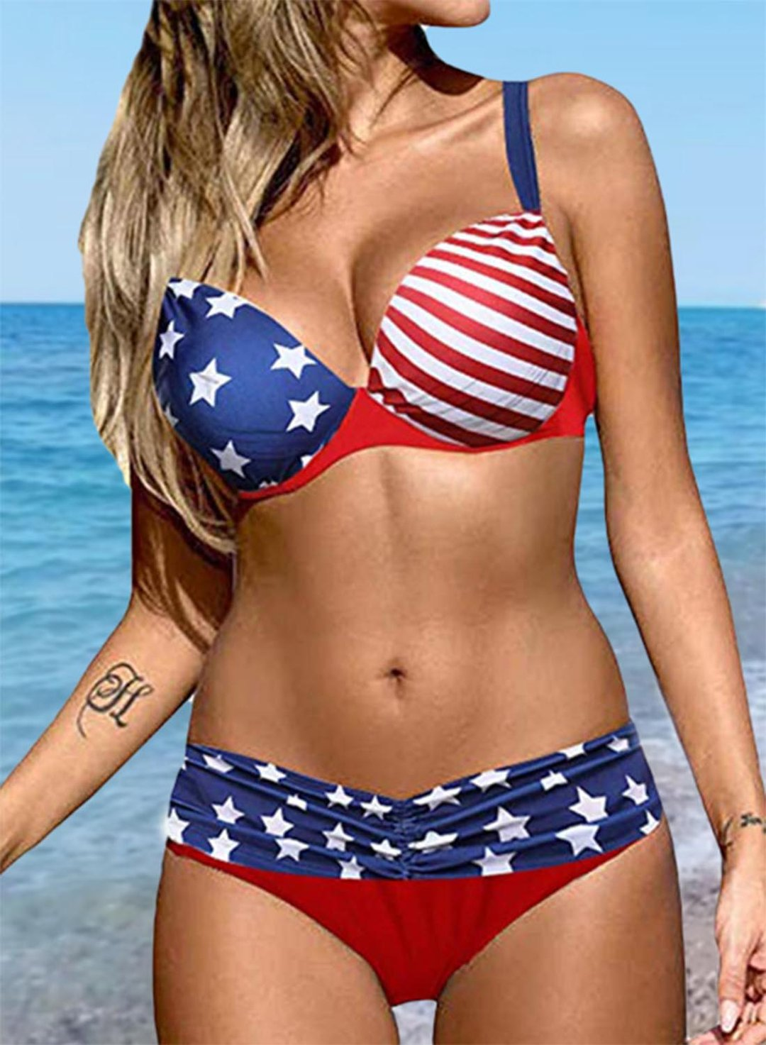 Multicolor Women's Bikinis Flag Color Block Low Rise Sleeveless Spaghetti Padded Adjustable Under-wire Casual Beach Bikini Suit LC43780-22