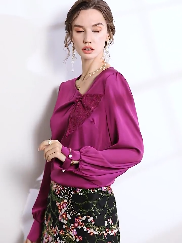 Purple Luxury Mature Silk Blouse、Real Silk Life
