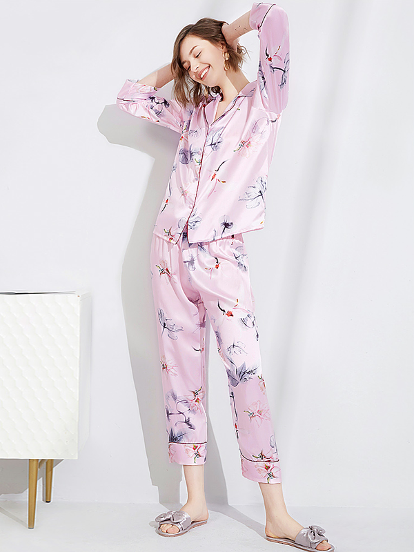 19 Momme Long Sleeves Cute Pink Silk Pajamas Set、Real Silk Life