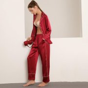25 Momme Women's Classic Silk Pajamas Two Pockets & Two Color Selected、Real Silk Life