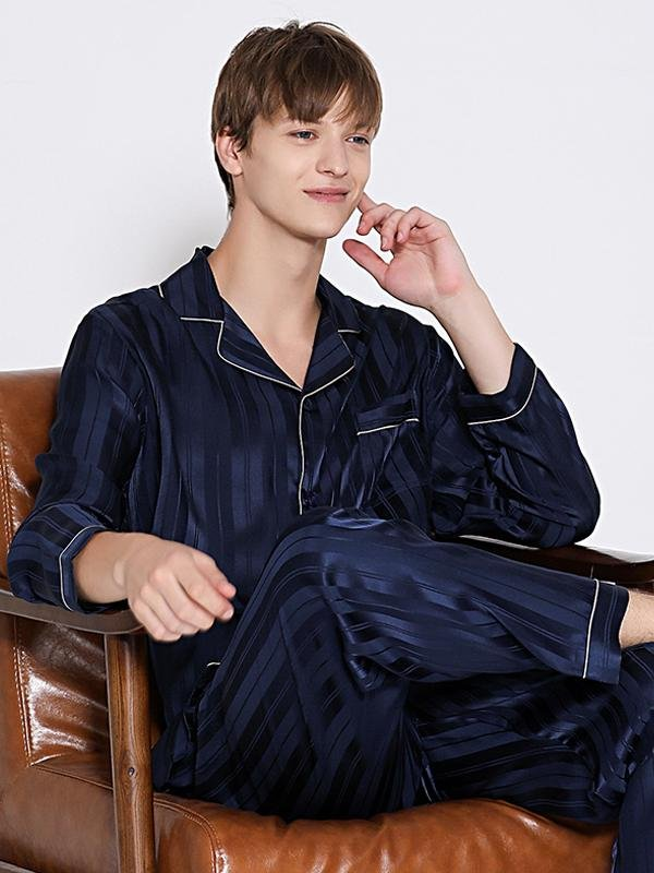 22 Momme Luxury Long Sleeves Stripes Print Pajamas Set For Men | Two Color Selected、Real Silk Life