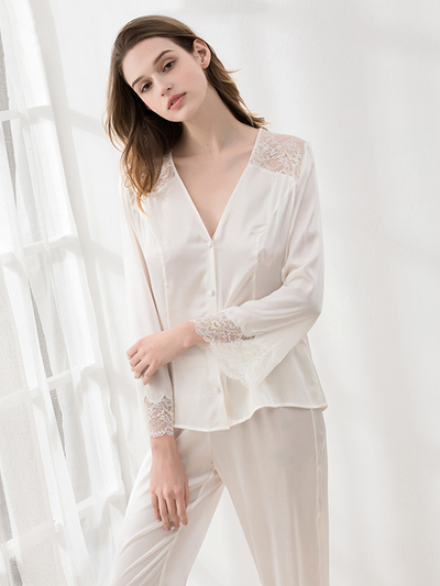 19 Momme White Lace Silk Pajamas Set、Real Silk Life