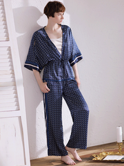 Navy Blue Summer Pull Over Silk Pajamas Set For Women | 3pcs、Real Silk Life