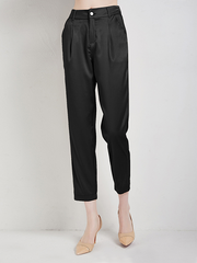 Waistband Button Detail Silk Pants With Pockets Ankle-length Pants、Real Silk Life