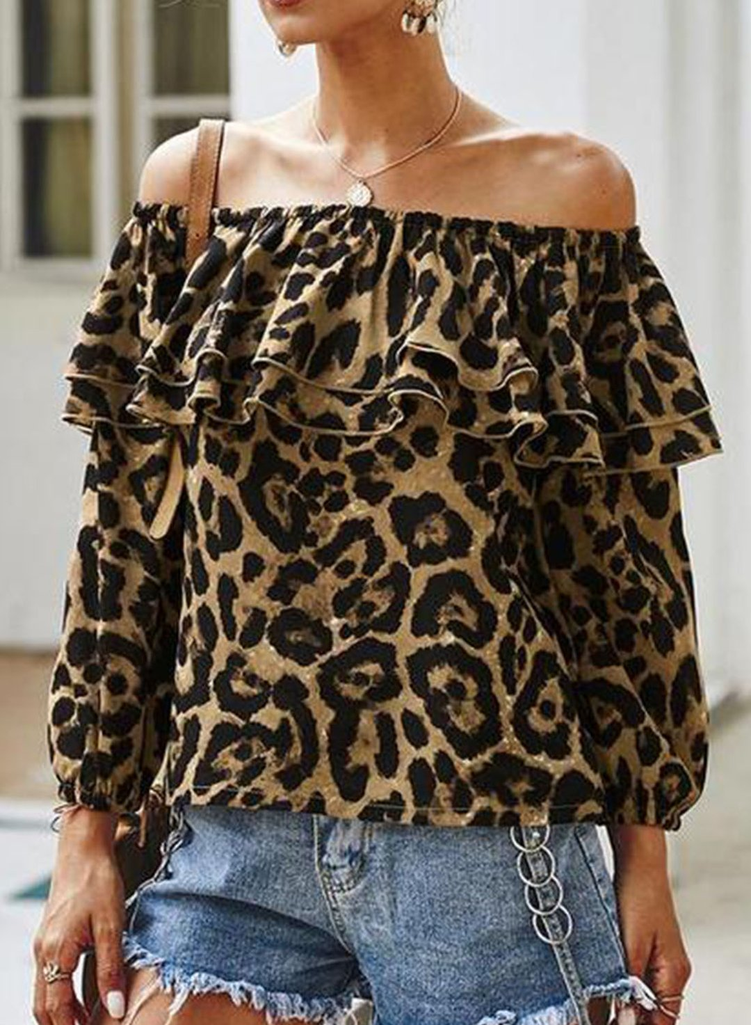 Leopard Women's Blouses Leopard Long Sleeve Off Shoulder Ruffle Daily Blouse LC2517388-20