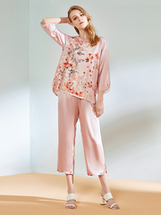 22 Momme Flower Printed Franch Design Silk Pajamas Set、Real Silk Life