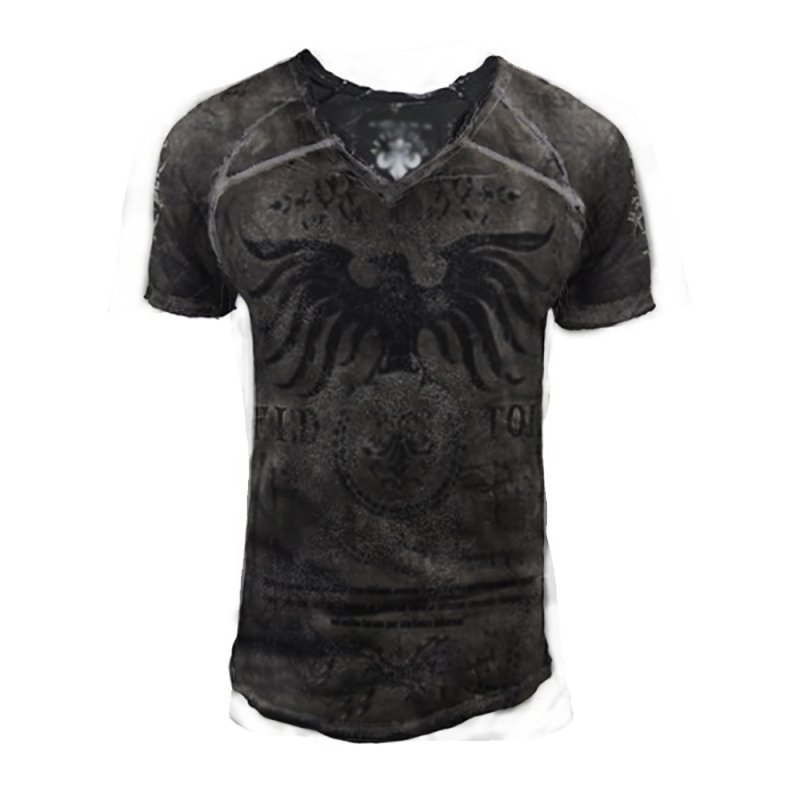 Printed mens casual all-match short-sleeved t-shirt / [viawink] /