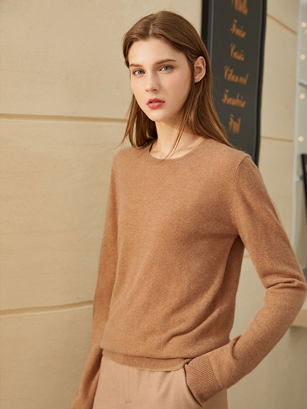 Temperament Round Neck Long Sleeves Cashmere Sweater|Multi-Colors Selected、Real Silk Life
