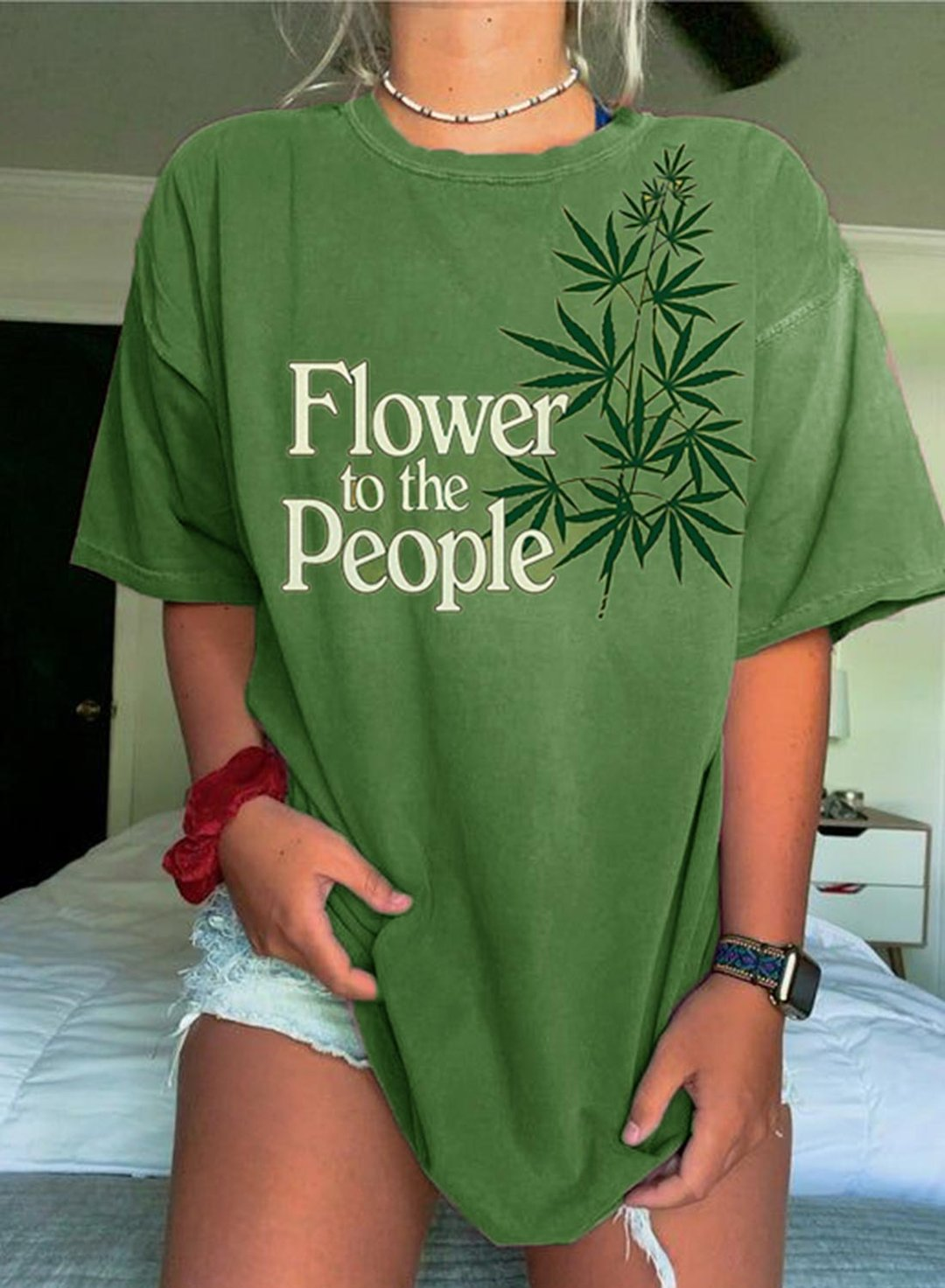 Green Women's T-shirts Letter Leaf Print Tunic T-shirts LC2526656-9