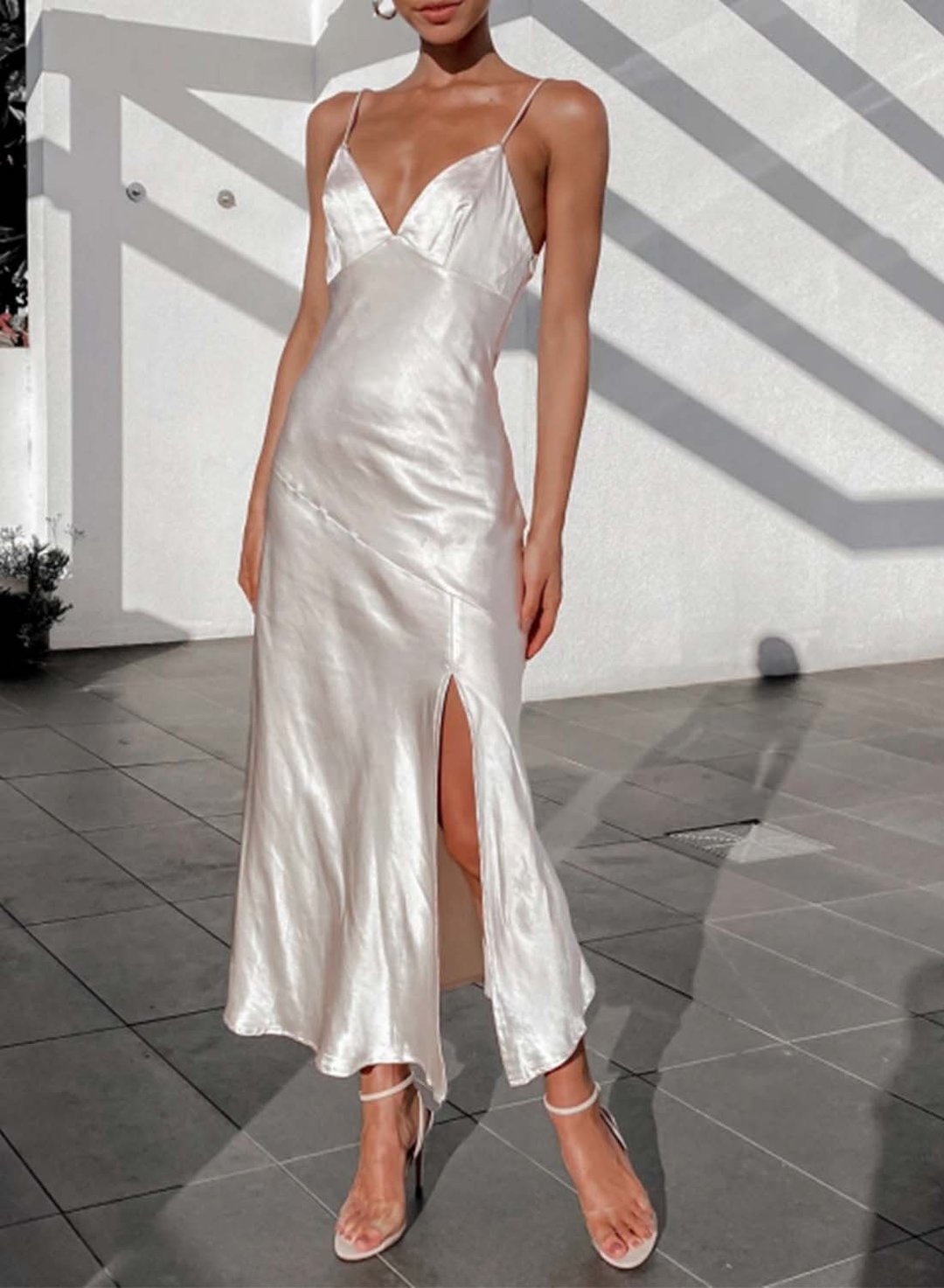 White Women's Maxi Dresses Satin Solid Sleeveless V Neck Split Dress LC614423-1