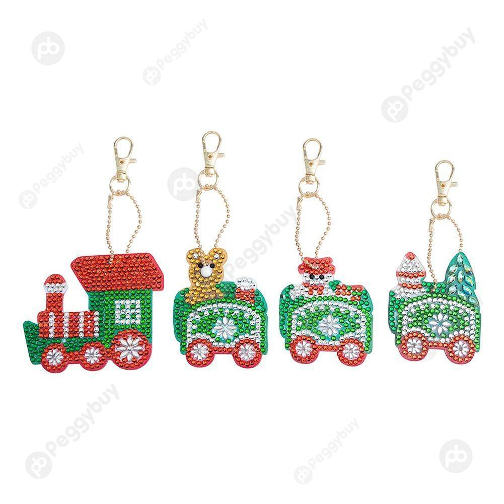 Peggybuy coupon: 4pcs Christmas Train-DIY Creative Diamond Keychain