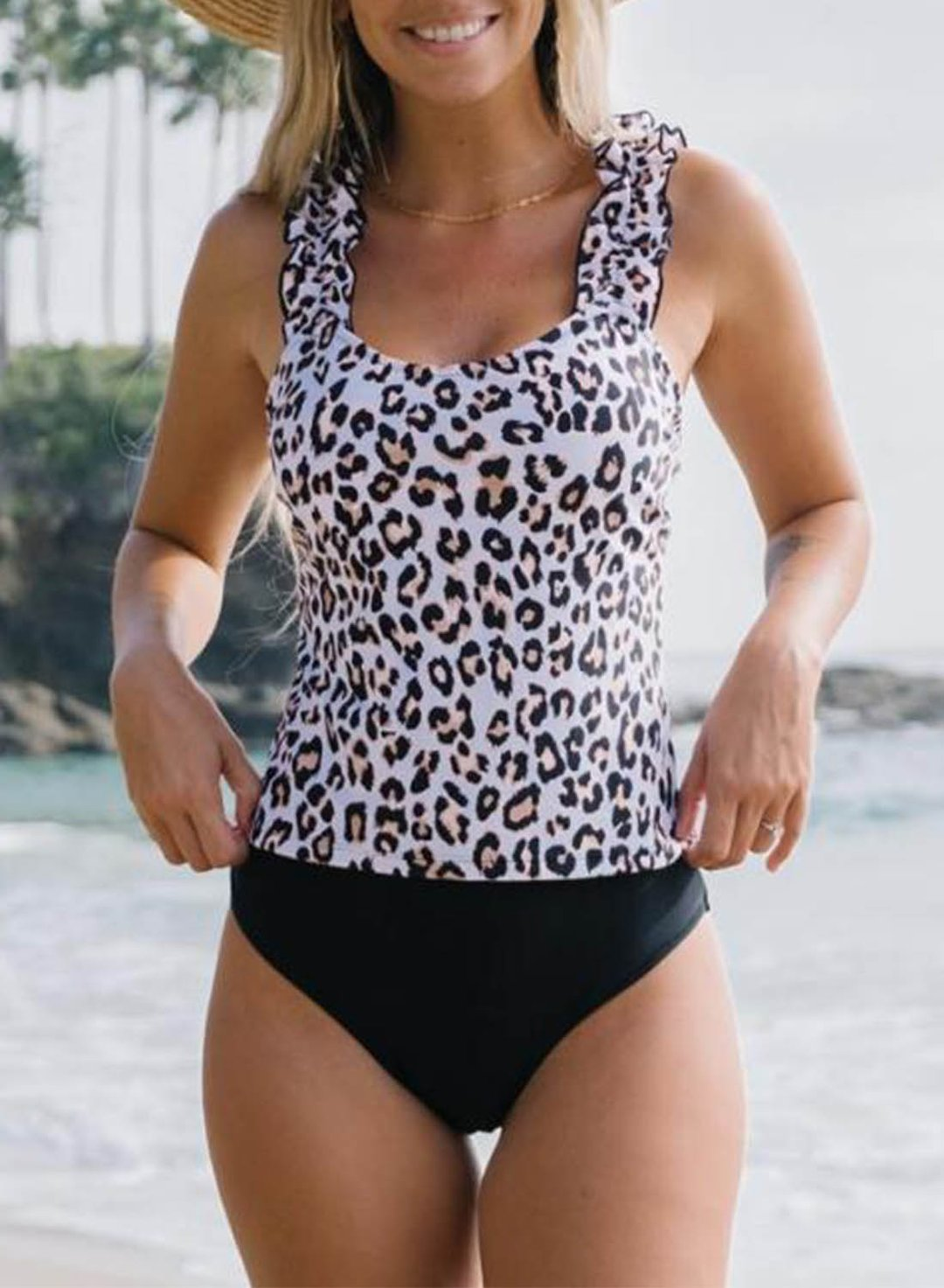 Leopard Women's Tankinis Color Block Leopard Sleeveless Unadjustable U Neck Padded Ruffle Vacation Tankini LC412352-20