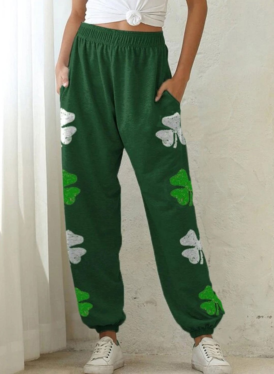 Green Women's Joggers Clover Festival Straight High Waist Full Length Casual Joggers LC771548-9