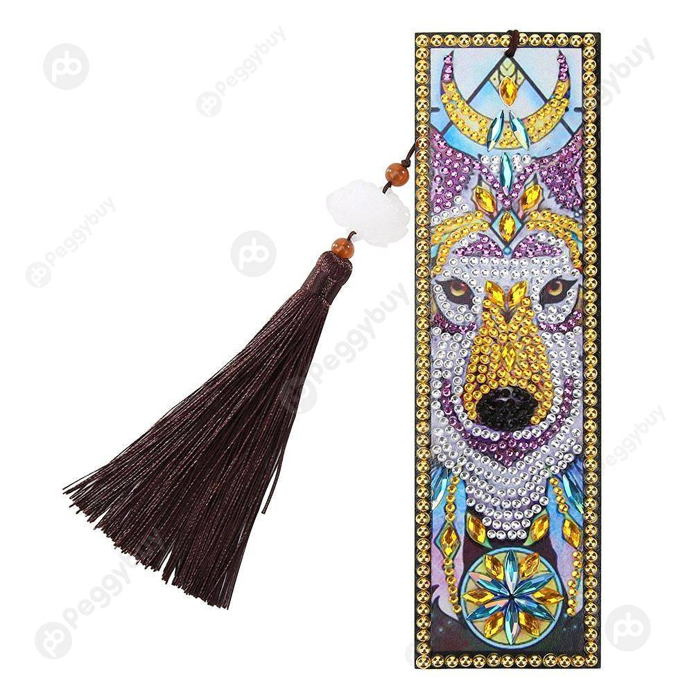 Peggybuy coupon: Wolf-DIY Creative Diamond Tassel Bookmark