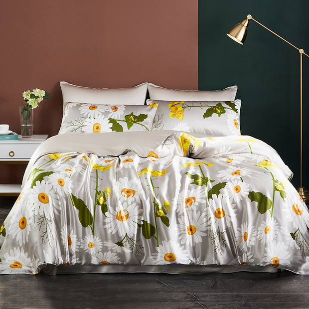 19 Momme Daisy Printed Silk Duvet Cover Set | 4pcs、Real Silk Life