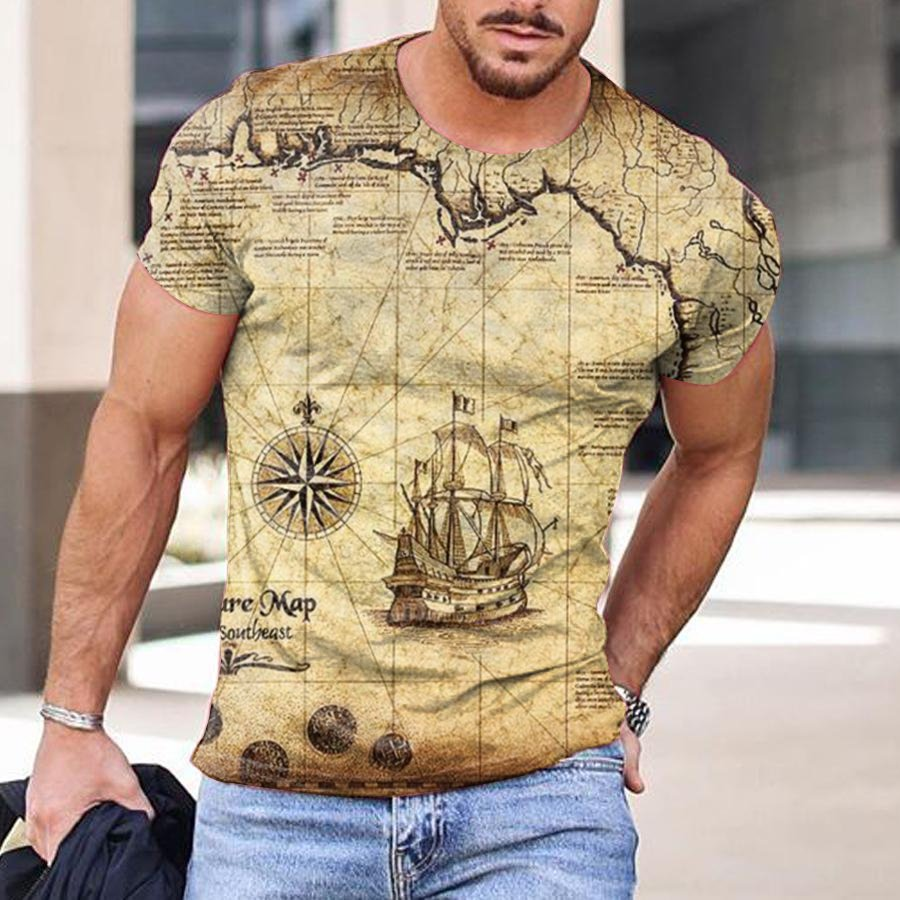Mens map print casual T-shirt / [viawink] /
