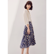 Cheerful Daisy Print Silk Skirt、Real Silk Life