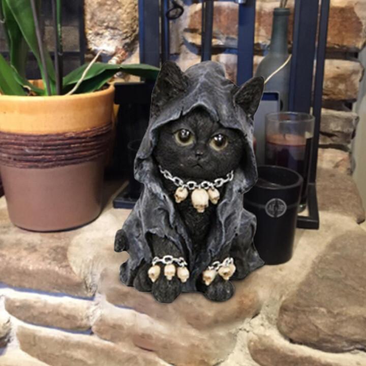 Buddha Cat Meditating Cat Yoga Cat Garden Decor Cat Statue Dark gray