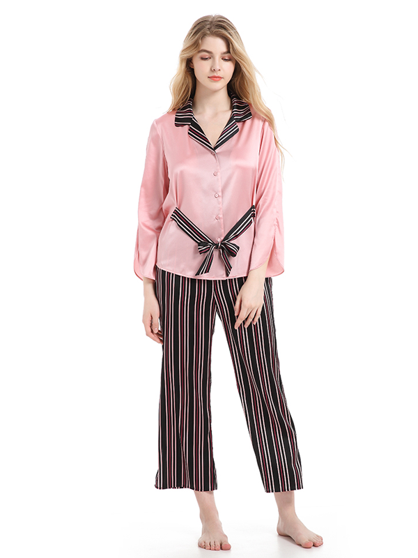 Classic V Neck Striped Silk Pajamas Set Pink