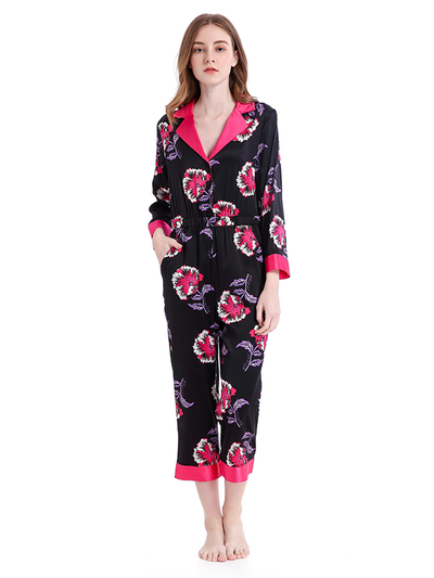 Printed Silk Jumpsuit Pajama、Real Silk Life