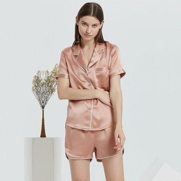 22 Momme Summer Contrast Trim Short Silk Pajamas Set、Real Silk Life