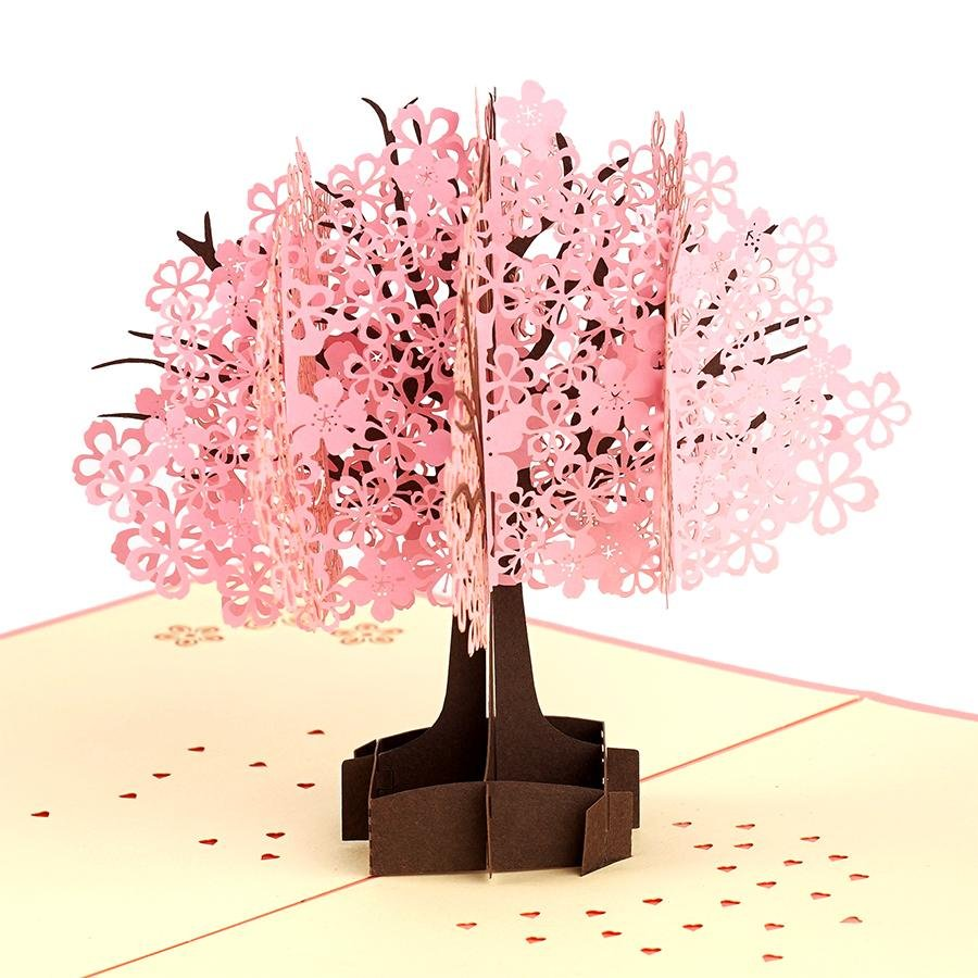 3D Flower Anniversary Birthday Easter 2021 Fast /& free shipping Thank You Cherry Blossom Tree Pop Up Card Spring Holiday Greeting