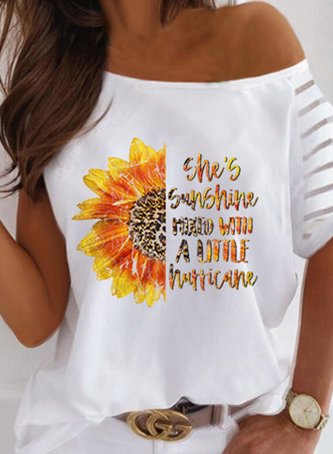 White Women's T-shirts Letter Sunflower Print Cold Shoulder T-shirt LC2526617-1