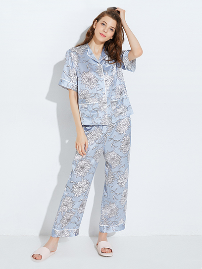 22 Momme High Quality Elegant Flower Printed Blue Long Silk Pajamas Set、Real Silk Life