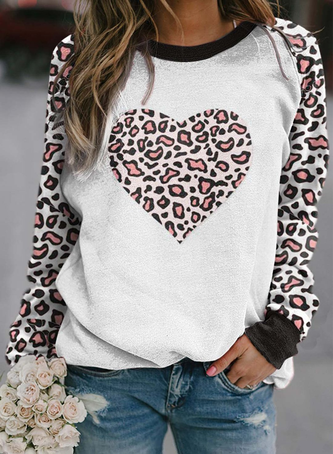 Leopard Women's Pullovers Leopard Color Block Heart-shaped Round Neck Long Sleeve Casual Pullovers LC2516303-20