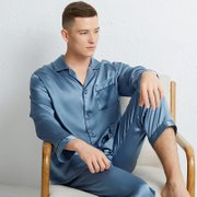 Monogrammed 19 Momme Light Blue Silk Pajams For Men、Real Silk Life