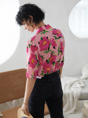 Pink Flora Pinted Silk Shirt、Real Silk Life
