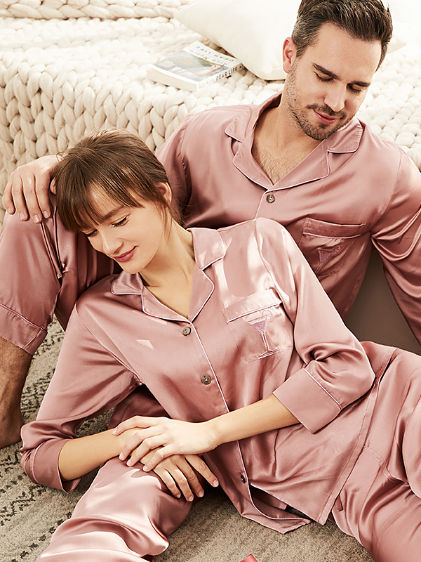 19 Momme Pink Long Sleeves Classic Silk Long Pajamas Set For Couple、REAL SILK LIFE