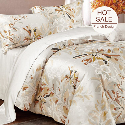 Leaf Printed Silk Duvet Cover Set Bedding Set| 4pcs、RealSilkLife