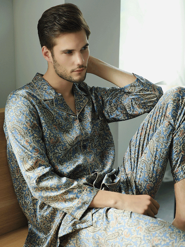 High Quality Paisley Printed Silk Pajamas Set For Men、Real Silk Life