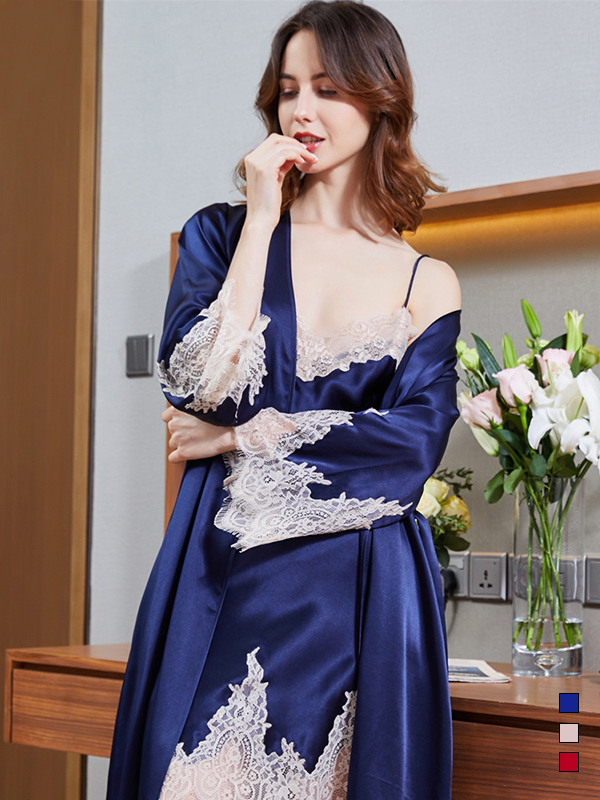 19 Momme Silk Robe Nightgown Set | Multi-Colors Selected、Real Silk Life