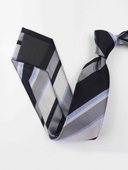 Modern Strip Black Silk Tie、Real Silk Life
