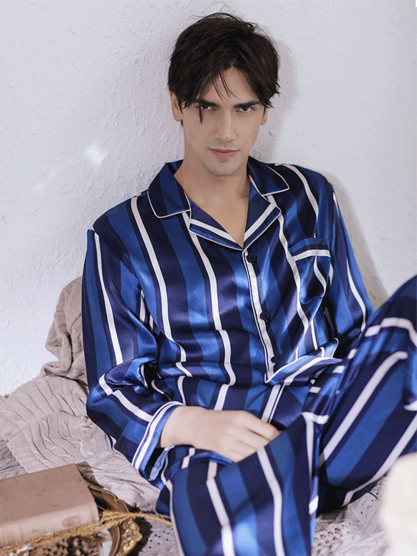 25 Momme High Quality Blue Stripes Full Length Silk Pajamas For Men、Real Silk Life