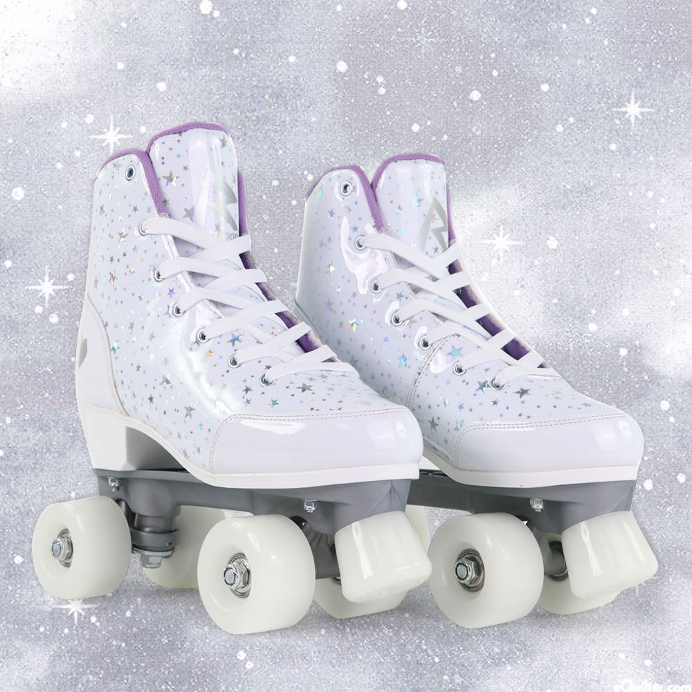 White Shinny Star Leather Roller Skates-Skatesfun