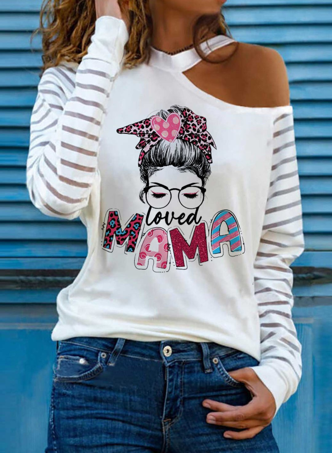 White Women's T-shirts Letter Portrait Letter Round Neck Cold Shoulder Long Sleeve Casual Daily T-shirts LC2517545-1