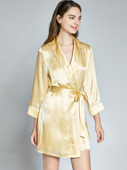 Sumptuous Long Sleeves Silk Robe & Robe Set For Women、Real Silk Life
